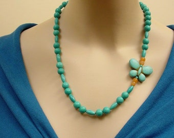 Unique Butterflay Necklace - Turquoise Magnesite and Carnelian Sterling Silver Necklace - Hand Made in USA