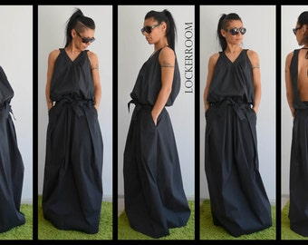 Woman Maxi dress / Black Long Dress / Woman Oversize dress/ Long black dress