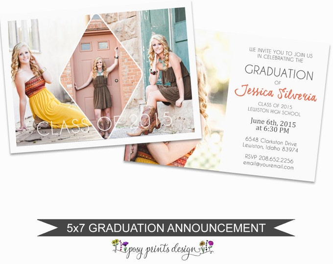 Graduation Announcement Template - 5x7 Digital Photography Photoshop Files - Template for Photographers - GC04 - DOWNLOAD or PRINTABLE