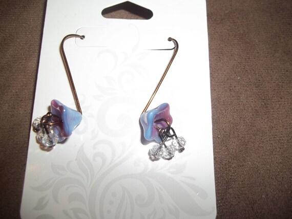 Czech Glass Wire Flower Earrings