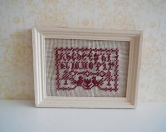 1:12 DOLLHOUSE Frame cross stitch alphabet.