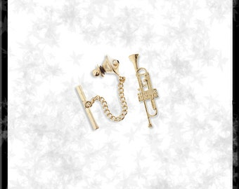 Gold  Trumpet Tie Tack - Free Shipping