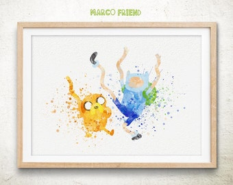 Adventure Time, Jake and Finn, Watercolor Art Print Poster- Home Decor - Jake, Finn, Watercolor Painting - Wall decor - Nursery Decor - 07