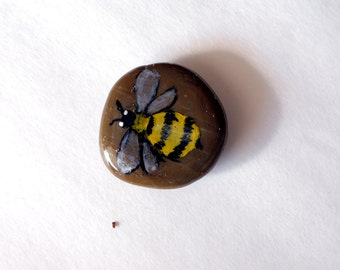 Bee Decor Bumble Bee Stone - Bee Garden Pebbles Bee Art - Bee Gifts Stone Paperweight Cute Office Accessories - Gifts for Gardeners