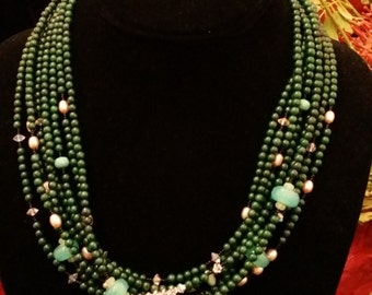 9 Strand Green Malachite, Pearl and Blown Glass Necklace