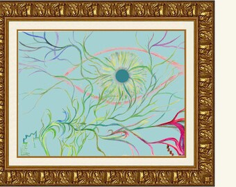 Greeneye - High Quality Print of Original 18x24 Abstract Drawing