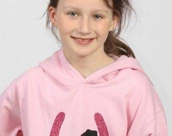 Girls Pink Horse Hoodie/ Sweatshirt with Glitter Horse Shoe