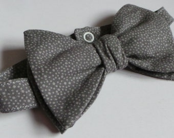 Handmade Men's Batwing Style Wide Pre-tied Bowtie Shades Of Gray Speckled Light Dark Print Cotton
