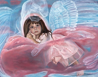 Cuddled by Angels.30x40 oil painting, angels original art, wall art, home decor