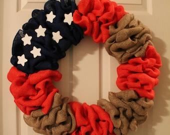 American Flag Burlap Wreath, Patriotic Wreath, Fourth of July Wreath, Front Door Wreath