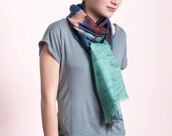 Wool & Silk's scarf, with spectacular landscape of Volcanoes and Smokes, Hand-drawn, blue sky