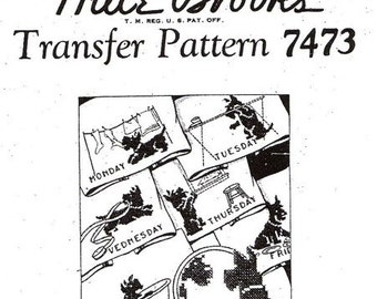 Transfer Pattern DOW Day-of-Week Scotties Doing Chores Cross Stitch Embroidery PDF Instant Download