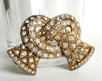 Vintage Bow Pretzel Knot Brooch Pin - Gold Pot Metal - Bright Clear Faceted Rhinestones - 40s Sparkle - Unique Twisted Shape - Little Nemo