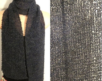 Hand Knit Scarf Lace Alpaca Wool Boucle Navy Blue