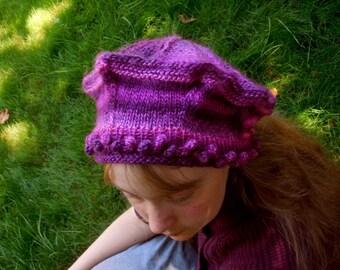 Small Victoria Tam in Petunia Colorway Handknit Pinks Purples