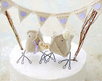 Burlap Wedding Cake Topper Rustic Woodland Country Farm Outdoor Wedding