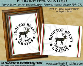 Christmas Reindeer Grains Feedsack Printable Logo - Rooftop Brand Reindeer Grains - Rustic Farmhouse style - JPG and/or PDF File