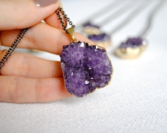 SALE - Amethyst Druzy Crystal Necklace. February Birthstone. Healing Crystals. Gold Dipped Edge. Amethyst Pendant. FREE US Shipping