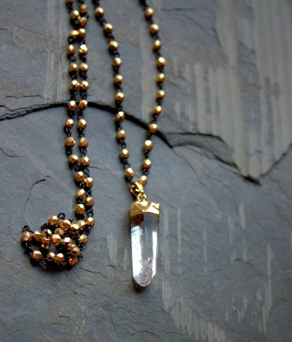 Long Beaded Necklace Bead, Long Pendant Necklace, Raw Quartz Crystal Pendant, Crystal Beaded Long Necklace Gold Sparkly Raw Stone Jewelry