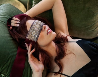 Silk and sari blindfold- crimson burgundy red 100% silk charmeuse with antique sari embroidery trim, gifts for her, boudoir blind fold