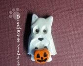 Scottish Terrier Ghost Halloween Pendant Artist Hand-Made OOAK Necklace Dog Art Jewelry Necklace D5