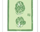 Brussel Sprout Block Print Art Reproduction