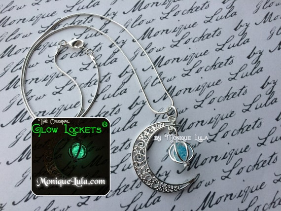 Starry Night Crescent Moon Galaxy Glowing Orb Necklace Van Gogh