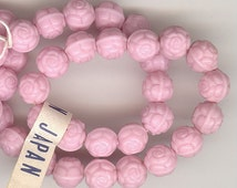 25 Vintage Pink Glass Roses: Opaque Pink Pressed Glass Rose Beads With Hole From Japan 6mm No.325M