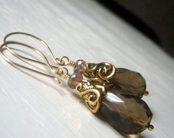 Taupe Gemstone Earrings, Smoky Quartz Earrings Goldfill with Andalusite, Genuine Smokey Quartz Teardrop Dangle, Goldfilled Stone Jewelry