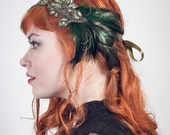Art Nouveau Flapper Feather Headband Emerald  Peacock Green // Handmade