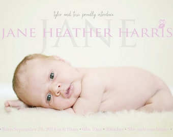 Baby Girl Birth Announcement - Jane Heather - Baby girl Announcement -