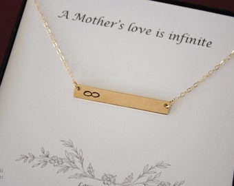 Mother Inifinity Necklace Tiny Gold Rectangle, Gold Bar, Personalized Necklace, BFF, Name Charm Gold, Thin Bar, Best Friend, Monogram
