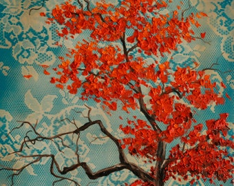 Vintage Inspired Red Tree of Life with Turquoise Lace Sky Original Painting