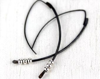 Black Threader Earrings with Silver Beads, Curved Spike Earrings, Silver Earrings, Mixed Metal Dangle Earrings, Edgy Urban Earrings