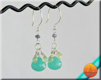 Luxury Gemstone Aqua Chalcedony, sterling silver earrings, wire wrapped Prehnite and Tanzanite, on Sterling Silver French Ear Wire