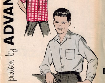 Vintage 50's Sewing Pattern, Little Boy's Collared Shirt, Size 6, Convertible Collar, Advance 9415, Tuck In or Untuck Shirt, Sports Shirt