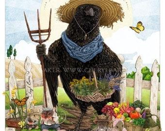 Garden Art - Crow Kitchen Decor - Crow Art - Bird Garden Decor - Bird Farmhouse Decor - Crow Country Decor - Crow Wall Print - Cottage Decor