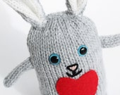 A handmade knitted bunny rabbit soft children's toy, hand knitted toys, plush toy, gift for children, Valentine's day gift, bunny plush toy