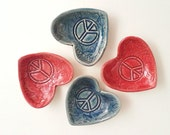 One mini heart bowl Peace sign design: red or blue handmade treats rings sweet anytime gift