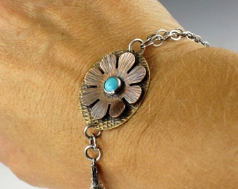 Turquoise Flower Bracelet, mixed metal bracelet, blue turquoise, turquoise bracelet, turquoise link bracelet, mixed metal bracelet