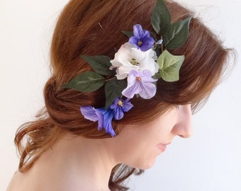 purple flower hair clip, floral hair comb, bridal headpiece, garden wedding hair accessories, bridal hair pieces, purple wedding headpiece