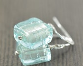 Aquamarine earrings Murano glass earrings, Venetian glass earrings Light Blue earrings  gifts for her