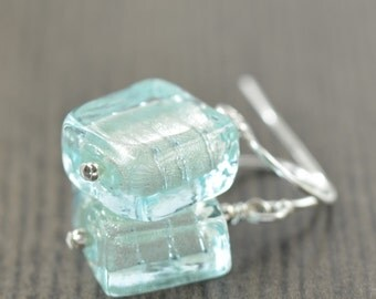 Aquamarine earrings Murano glass earrings, Venetian glass earrings Light Blue earrings  for her