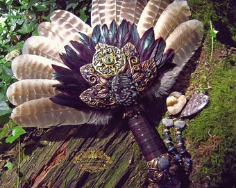 Smudge Fan Turkey Feathers Brandenburg Crystal Holly Blue Agate Fossil Bison Celtic Triskele Pagan ARADIA THE PROTECTOR by Spinning Castle