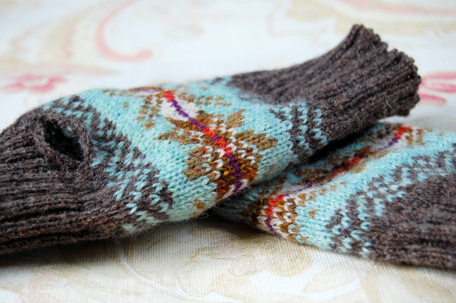 Wool Knit Fair Isle Fingerless Gloves Mitts Duck Egg Blue Rust
