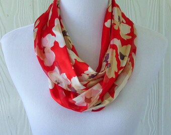 Red Floral Infinity Scarf, Circle Scarf, Loop Scarf, Tube Scarf, Women's Scarves, Eclectasie