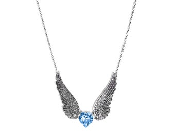 Angel Wing Necklace, Sapphire Heart with Stainless Steel Chain, Light Blue Swarovski Crystal Heart Jewelry
