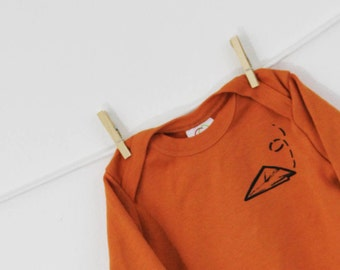 Paper airplane long sleeve bodysuit organic cotton baby clothes screen printed
