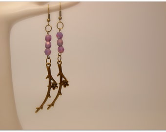 Antiqued Brass/Bronze Branch with Plum Flower Charm and Lavender Purple Luster Czech Beads Earrings