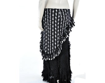 Belly Dance Hip Scarf  Hip Wrap - Stripe and Lace - tribal fusion